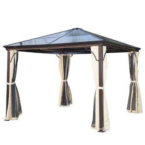 Outsunny Carpa Cenador para Jardín Gazebo Exterior para Evento Estable Anti-UV Techo Policarbonato 4 Paravientos Mosquitera Integrada Aleación de Aluminio 300x300x260cm