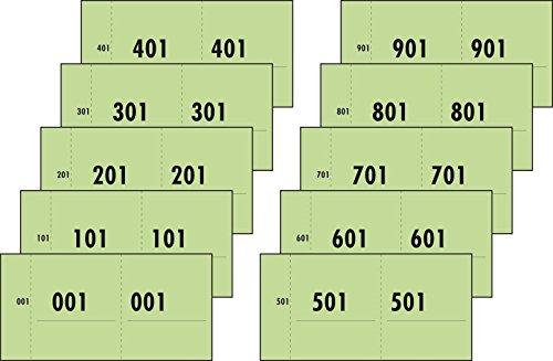 SIGEL 76153 Nummernblock grün, 1000 Bons (Nr. 1-1000, 10,5 x 5,3cm)