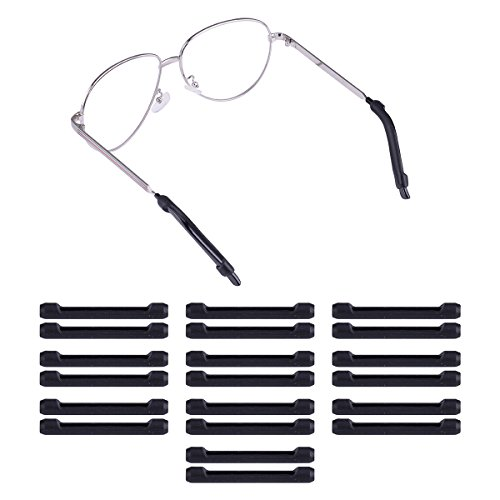 HooAMI 10 Paar Silikon Antirutsch Anti-allergisch Ueberzuege Fuer Buegelenden Brillenbuegel Socke - Schwarz