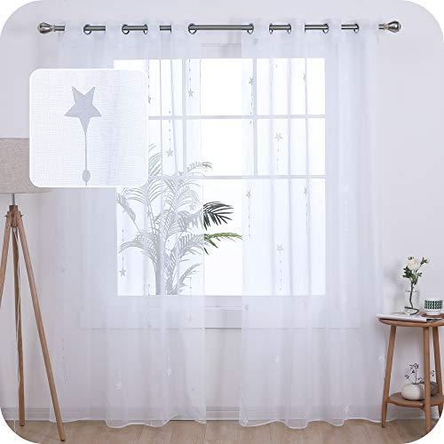 Amazon Brand – Umi Cortinas Salon Translucidas de Dibujos Lluvia de Meteoros con Ollaos 2 Piezas 140x280cm Blanco
