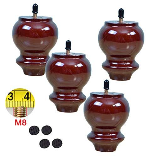 JDK 4 Stück Möbelfüße aus Holz in Kürbisform, M8 Bolzen Massivholz-Möbel, Ersatzbein, für Loveseat, Stuhl, Bett, Fernseher, Kommode, Sessel, Couchtisch, Schrank, mehrere Farben und Größen (rot, 10 cm)