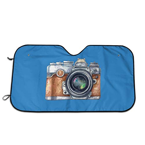 """Camera Photography Watercolor Painting Windshield Sun Shade Sunshades Keep Vehicle Cool Protect Your Car from Sun Heat & Glare Best Uv Ray Visor Protector Size: 27.5""""X 51"""""""