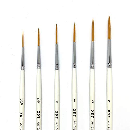 XDT#830 Extra Long Fine Point Tip Artist Liner Brush 6Pc Set #000#00#0#1#2#3 Fine Detail Watercolor Acrylic Oil