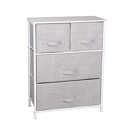 Chest of 4 Drawers, Fabric Storage Units Cabinet with Wood Top and Metal Frame for Bedroom Living Room Bathroom, Grey, 60 * 30 * 79 cm