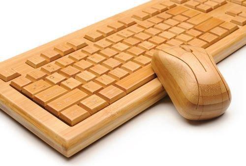 ROXX Tastatur + Maus Set Keyboard Wireless Bambus Holztastatur handgefertigt aus Holz kabellos Funk