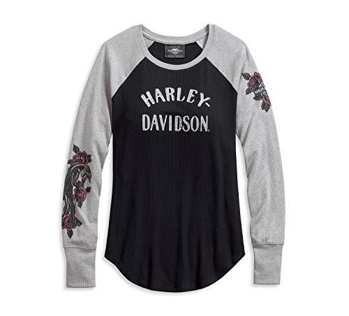 HARLEY-DAVIDSON Raglan Rib-Knit Top Damen Shirt, 96074-20VW, XS