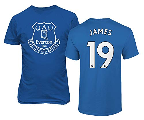 Spark Apparel Merseyside Blue #19 James Rodriguez Jersey Style Men's T-Shirt (Royal, Large)