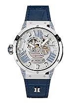 HÆMMER Damen Armbanduhr Analog Automatik mit 20mm Kalbslederarmband, Silber/Blau, GL-300