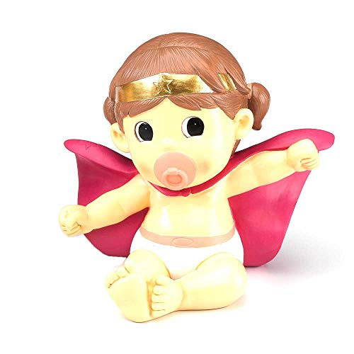 Muñeco-hucha para la tarta de Bautizo o babyshower, niña Superhéroe. Figura o muñecos para la tarta Bebé