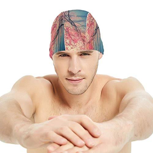 HFHY Belle feuille d'érable Snowy Mountain Lycra Swim Cap Comfortable Fit Swimming Caps Bonnet de bain et douche Hair Cover Protection d'oreille pour les cheveux longs et les cheveux épais et les chev