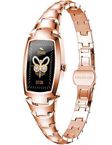 Modische Smartwatches für Damen, roségoldfarben, Edelstahl, Armband mit Bluetooth-Tracker, Aktivitätstracker in Form von IP68, Werkzeug für Damen.