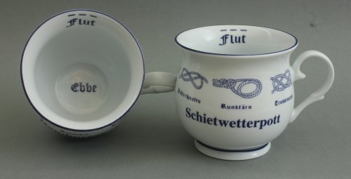 Buddel-Bini Schietwetterpott Kaffeepott mit Seemannsknoten bauchig