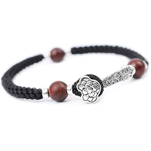 Hand Woven String S925 Silver Ruyi Sandalwood Round Bead Bracelet Feng Shui Wealth Amulet Bracelet Lucky Chinese Gifts for Healing Attract Money for Good Fortune Courageous Bring Prosperity,18CM