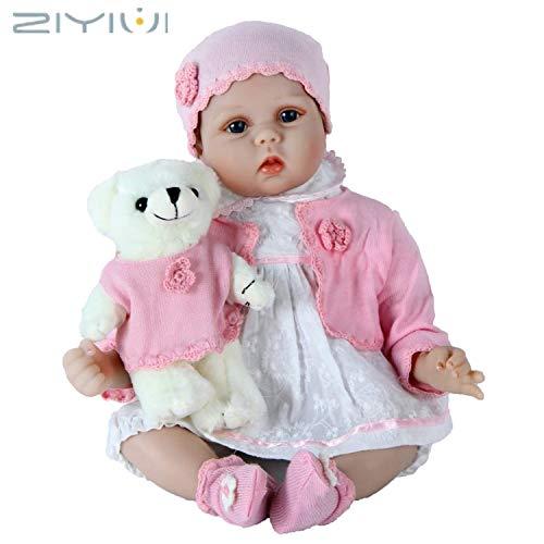ZIYIUI Reborn Babys Puppen Silikon Mädchen Handgefertigt Reborn Babypuppen Dolls Neugeborenes 22 Zoll Lebensechtes Puppe