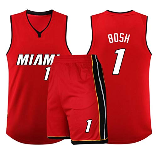 YB-DD Herren-Basketball-Trikots Set - NBA Miami Heat # 1 Chris Bosh Erwachsene Kinder Unisex Breath Basketball-Kleidung stellte Sport,Rot,4XL(80~90KG)