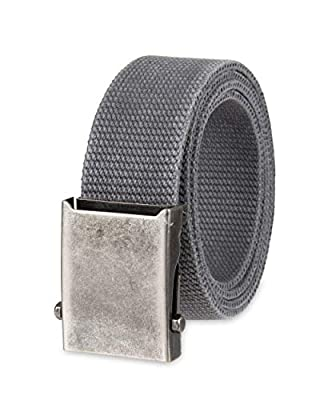 Columbia Men's Military Web Belt-Adjustable One Size Cotton Strap and Metal Plaque Buckle, Charcoal