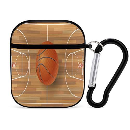Funda para Airpod, Pelota de Baloncesto en el Campo de Baloncesto, Accesorios para Airpods portátiles y a Prueba de Golpes, Estuche rígido Protector para AirPods 2 y 1 con Llavero