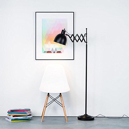 Stehleuchte im Retro Design mit Scherengelenk und Textilkabel, matt Schwarz, Fußschalter, Höhe 150 cm, 1x E27 max. 40W, Metall