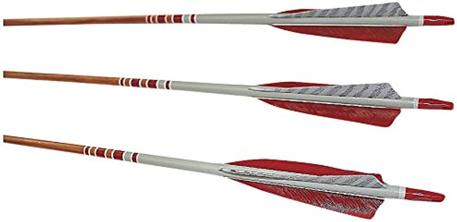 (0.9cm Diameter 2527kg Spine, Mahogany Stain Shaft)  pink City Archery Port Orford Cedar Hunter Elite Arrows with 13cm Length Shield Cut Fletch (12Pack)