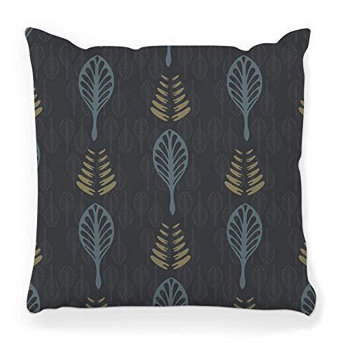 MayBlosom Funda de cojín decorativa cuadrada, 18 x 18 cm, diseño de bosque oscuro, dramático, perspectiva mística, color azul, diseño creativo espeluznante, con cremallera, gris 56