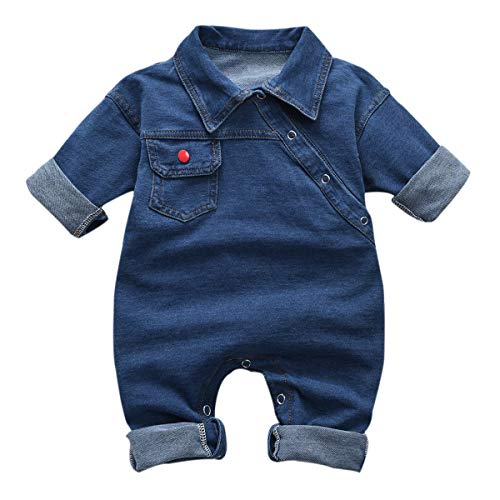 Tianhaik Peuter Baby One-Piece Outfits Zomer Korte mouw Turn Down Collar Romper Jeans Bodysuit Jumpsuit