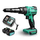 Enegitech 18V Cordless Rivet Gun Brushless Lithium-ion Automatic Blind Rivet Tool for 3/32', 1/8', 5/32', 3/16' Rivets with 2 Pack 3.0Ah Battery ETB1830B and Charger ETC1830