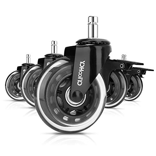 YOHOOLYO Office Chair Caster with Brakes 7/16 Inches x 7/8 Inches Set of 5 Rubber Office Chair Wheel Replacement Universal Fit Heavy Duty Chair Wheels for Floors and Mats
