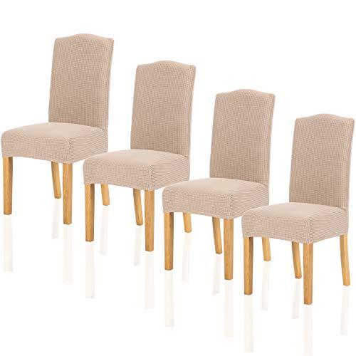 TIANSHU Fundas para sillas Pack de 4,Poliéster Elástica Fundas sillas Duradera Modern Bouquet de la Boda Hotel Decor Restaurante(Pack de 4,Arena)