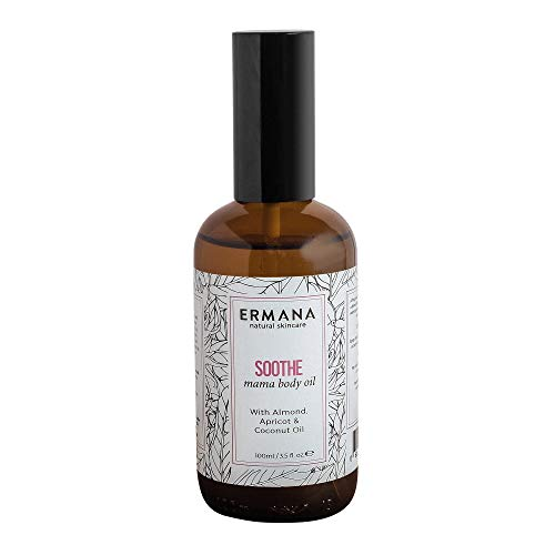 Ermana Natural Skincare Soothe Mama Body Oil with Jojoba, Sweet Almond and Apricot oil. Hand Blended in the UK. 100ml