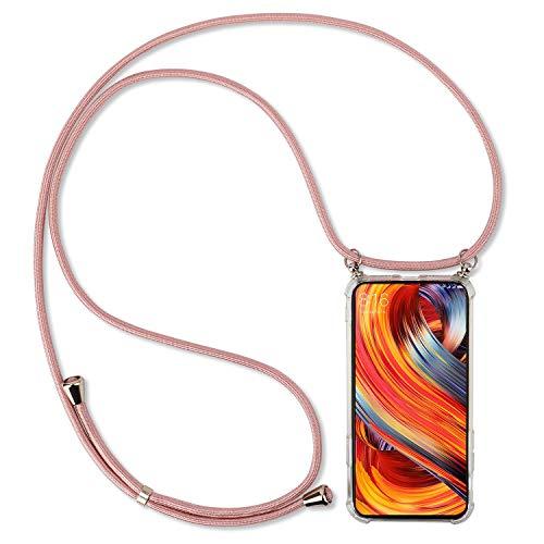 UYMO Handykette Kompatibel mit Samsung Galaxy M30S Hülle- Stylische Kette Weich Silikon Schutzhülle mit Band Handyhülle zum Umhängen Kordel für Samsung Galaxy M30S (Rosa-Gold)