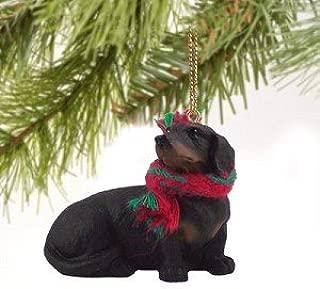 1 X Dachshund Miniature Dog Ornament - Black & Tan