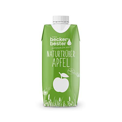 beckers bester Naturtrüber Apfelsaft - 12er Pack - 100% natürlicher Direktsaft - Co2-neutral hergestellt – Vegan – Ohne Zuckerzusatz – Ohne Gentechnik – Glutenfrei – Laktosefrei - 12 x 330 ml