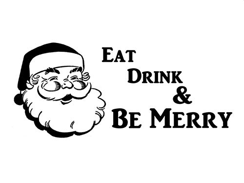 Sticker mural « Eat Drink and Be Merry with Santa Christmas »