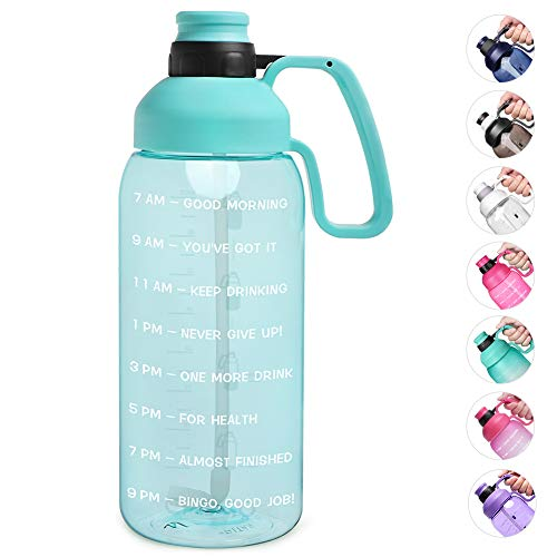 Opard 2 Litre Water Bottle with Time Markings & Straw, Half Gallon Motivational Large Water Jug with Handle Reusable BPA Free Tritan for Gym and Sports