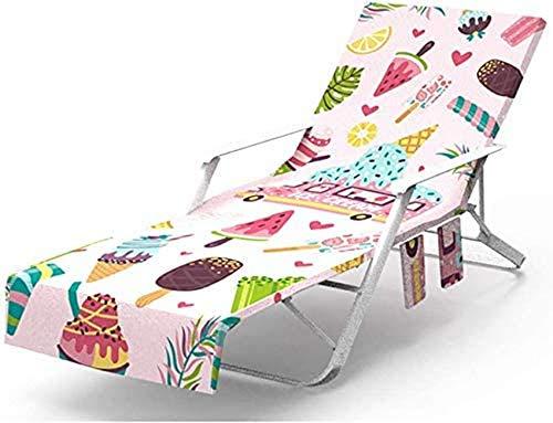 Funda para Silla de Playa, Toalla de Microfibra para sillón de Piscina y sillón reclinable, Tumbona para jardín de Vacaciones, colchoneta para Tumbona con Bolsillos Laterales, Bolsa