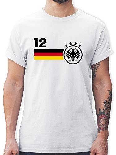 Fussball EM 2021 Fanartikel - 12. Mann Deutschland Mannschaft EM - XL - Weiß - Deutschland Trikot Herren wm 2018 - L190 - Tshirt Herren und Männer T-Shirts
