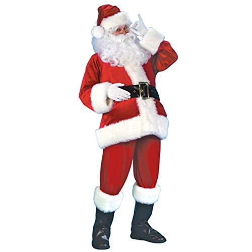 Chloefairy Herren Kostüm Lustig Erwachsene Weihnachtsmann Kostüm Erwachsenenkostüm für Herren mit Mütze Bart Gürtel Handschuhe Jacke Hose Santa Claus Verkleidung Nikolauskostüm Nikolaus Anzug Cosplay