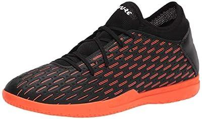 PUMA Men's Future 6.4 Indoor Trainer Soccer-Shoe, Black White-Shocking Orange, 10.5