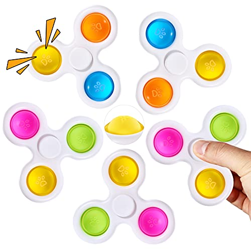 SCIONE 2 in 1 Pop Fidget Spinner 5 Pack Simple Fidget Toys with Bubble,Simple Fidget Popper Spinners Stress Relief Reducer,Fidget Pack Colorful for Kids Adults
