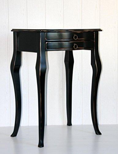 Casa Massivholz Pappel Beistelltisch schwarz antik 57x40 cm Konsolentisch Shabby-Chic Wandtisch Vintage