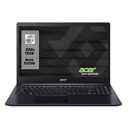 "Notebook Acer pc portatile intel i5 10Th Display da 15.6"" Fino A 4.20GHz in turbo ,Ram 12Gb Ddr4 SSd M.2 500 Gb NVMe,UHD Graphics 620,Computer portatile,Hdmi,Wi fi,Bluetooth,Windows 10 professional"