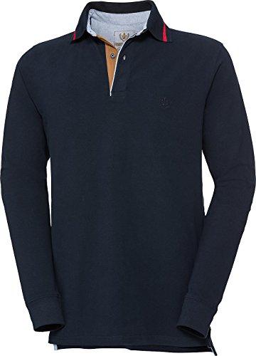 Franco Bettoni Herren Polohemd in Marine, Poloshirt für Männer, sportlich-Elegantes Langarm-Shirt mit V-Ausschnitt & Kragen, Herrenpullover, Gr. 48-60