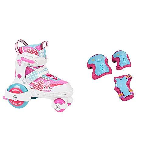 HUDORA Rollschuhe My First Quad 2.0-Mädchen, Pink, 30-33 & Protektoren Kinder Skate Wonders, Protektoren-Set Inliner, Gr. S, 83317