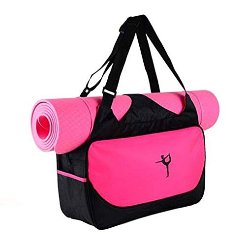 Fablcrew Sac Tapis de Yoga Sac de Yoga Sacs de Sport Sac à Bandoulière Imperméable Antiderapant Pliable sans Tapis de Yoga (Rose Rouge)