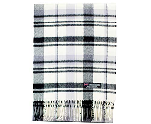 2 PLY 100% Cashmere Scarf Elegant Collection Made in Scotland Wool Solid Plaid Men Women ZS04 Off White