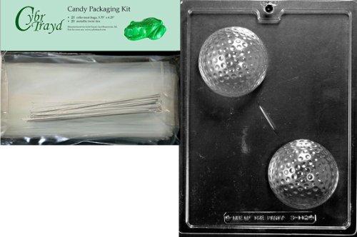 Cybrtrayd Große Golfball-Sportform für Schokolade, Süßigkeiten, inkl. 25 Zellophantüten und 25 silberfarbenen Bindebändern
