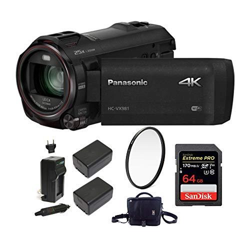 Panasonic HC-VX981K 4K Ultra HD Camcorder w/Wasabi 2 Batteries & Charger Bundle