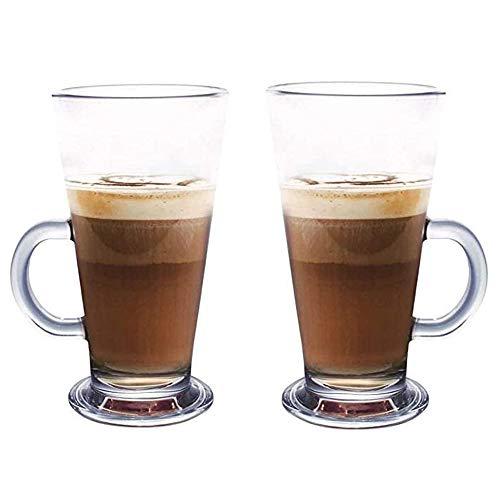 Latte Glas Tassen 2er Set mit Löffel 270ml perfekt für Espresso Cappuccino Kaffee Tee heiße Schokolade Heißgetränke Tassimo & Dolce Gusto Kaffee Einzigartig Design Hochtemperaturbeständig