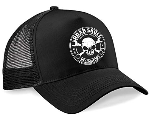 HELLMOTORS Road Skull Trucker Cap Hot Rod V8 Rockabilly schwarz
