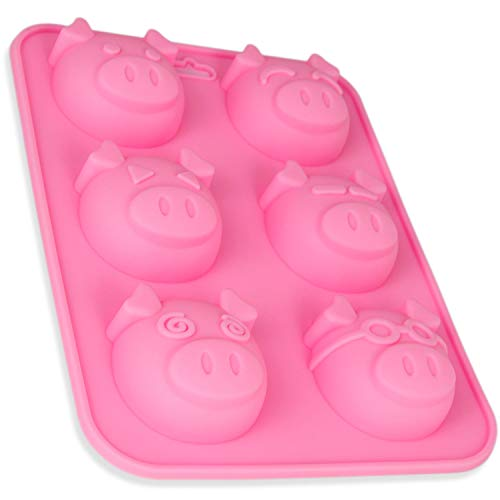 Silikonform Schweinchen, Backform große Schweine, Silikonform Muffins, Bupcake Silikon, Brownieform, Backen, Seifenform, Sylvester, Eiswürfel, Glücksbringer, Brötchen, Pig, Kuchen, Farbe: Rosa